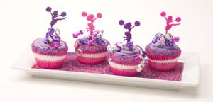 Pink and Purple Cheerleader Cupcakes