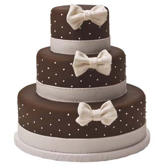Dots and Bows Pink and Brown Cake