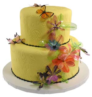 Gelatin Butterfly and Flower Cake
