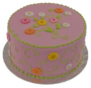 Swirls and Flowers Cake