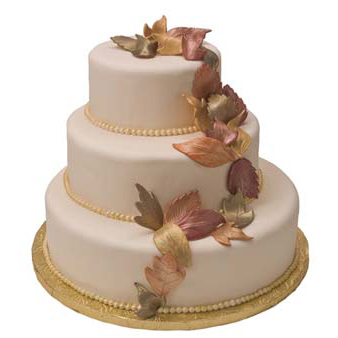Fall Leaves Wedding Cake