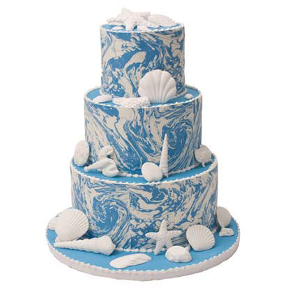 Blue Marble Seashell Cake