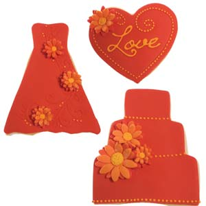 Shades of Red and Orange Wedding Cookies