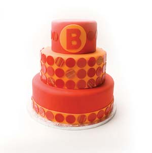 Red and Orange Dot Cake