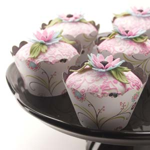 Pink Green and Blue Floral Cupcakes
