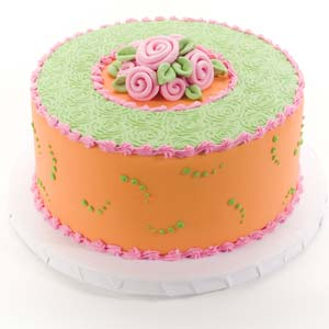 Rose Bouquet Pink Orange and Green Cake