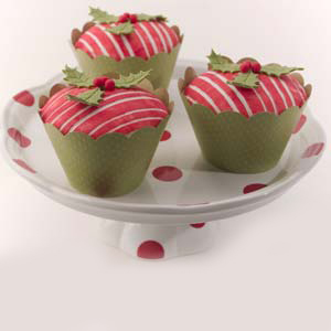 Striped Cupcakes with Holly and Berries