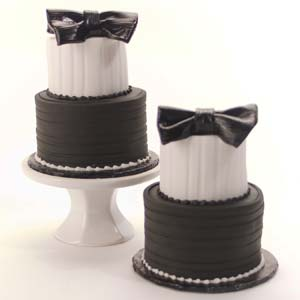 White and Black Mini Tuxedo Tier Cakes
