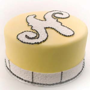 Yellow and Black Monogram N Cake
