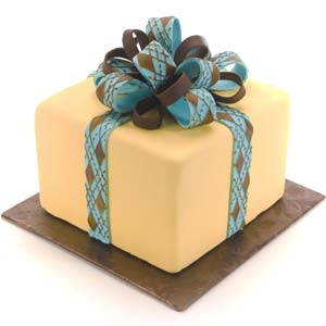 Yellow Cake with Aqua and Brown Argyle Bow
