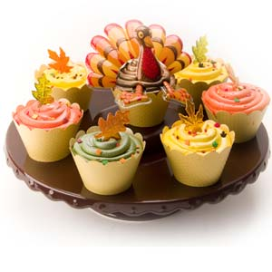 Turkey and Fall Leaves Cupcakes