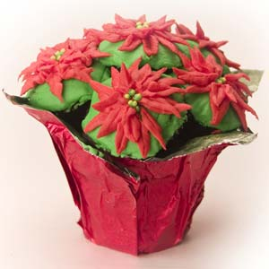 Poinsettia Mini Cupcake Bouquet