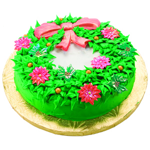 Wreath Cake with Poinsettias and Holly