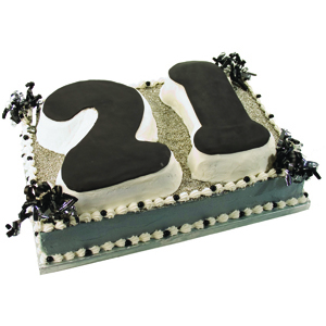 Black and Silver 21 Party Cake
