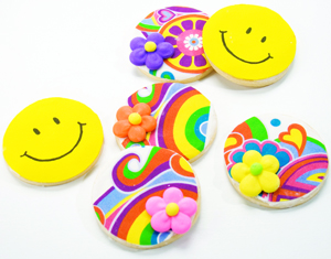 Smiley Face Flowers and Peace Cookies