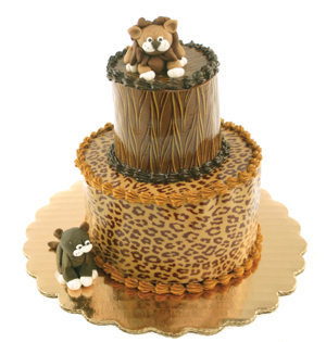 Leopard and Tiger Chocolate Transfer Mini Cake