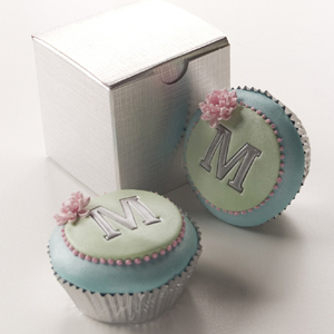 Monogram Cupcakes in Pink Silver Blue