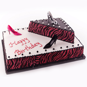 Hot Pink And Black Zebra Print Birthday Cake