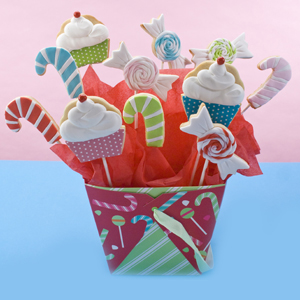 Christmas Cupcake Cookie Bouquet