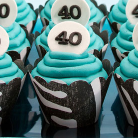 40th Birthday Zebra Cupcakes