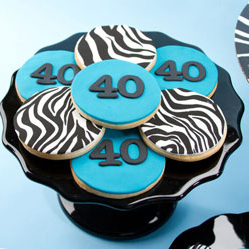 40th Birthday Zebra Cookies