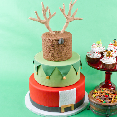 Santa Elf and Reindeer Cake