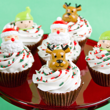 Santa Elf and Reindeer Cupcakes