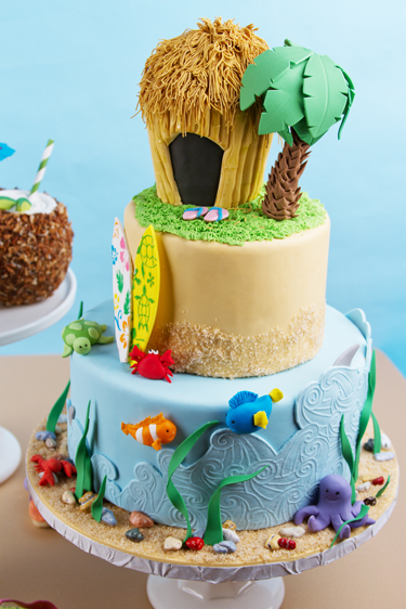 Hawaiian Luau Tiered Cake