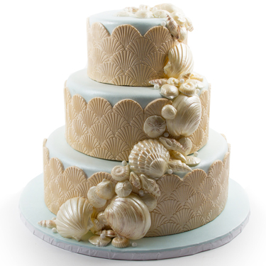 Ivory and Blue Textured Shell Cake