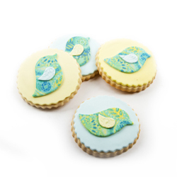 Blue and Yellow Sweet Bird Cookies