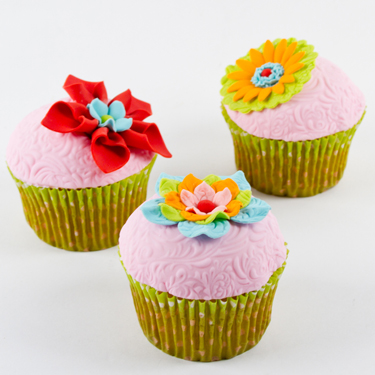 Fabric Flower Cupcakes
