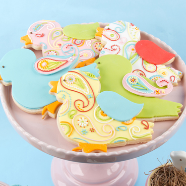 Paisley Bird Cookies
