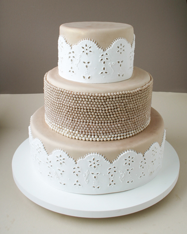 Champagne and Eyelet Lace Cake