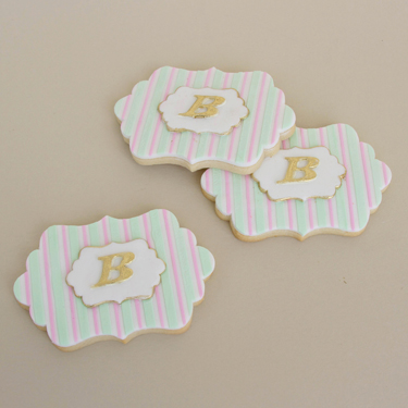 Striped Monogram Cookies