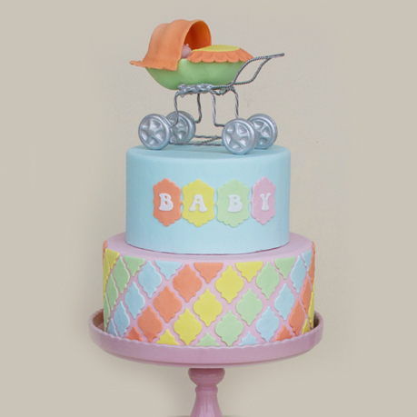 Pastel Baby Cake with Carriage