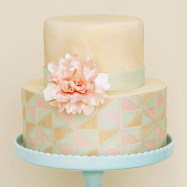 Elegant Triangles with Peony Cake