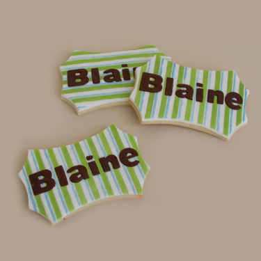 Striped Name Cookies