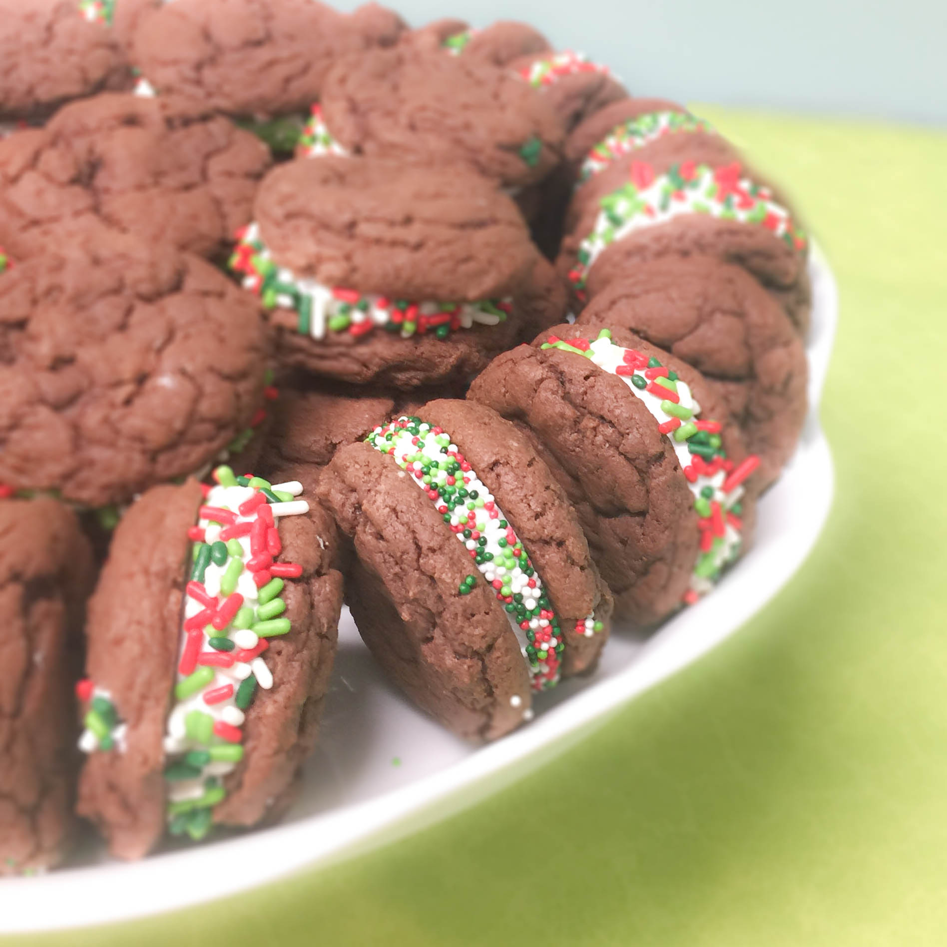 Chocolate Sandwich Cookies w/ Christmas Sprinkles