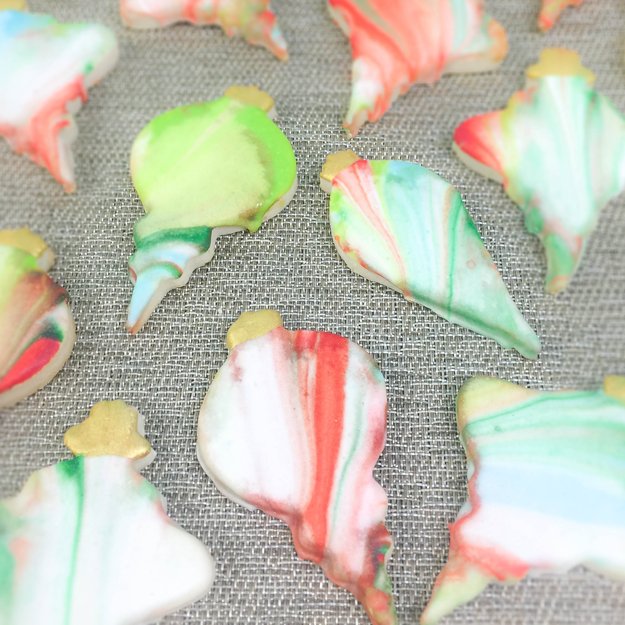 Marble Glazed Ornament Sugar Cookies