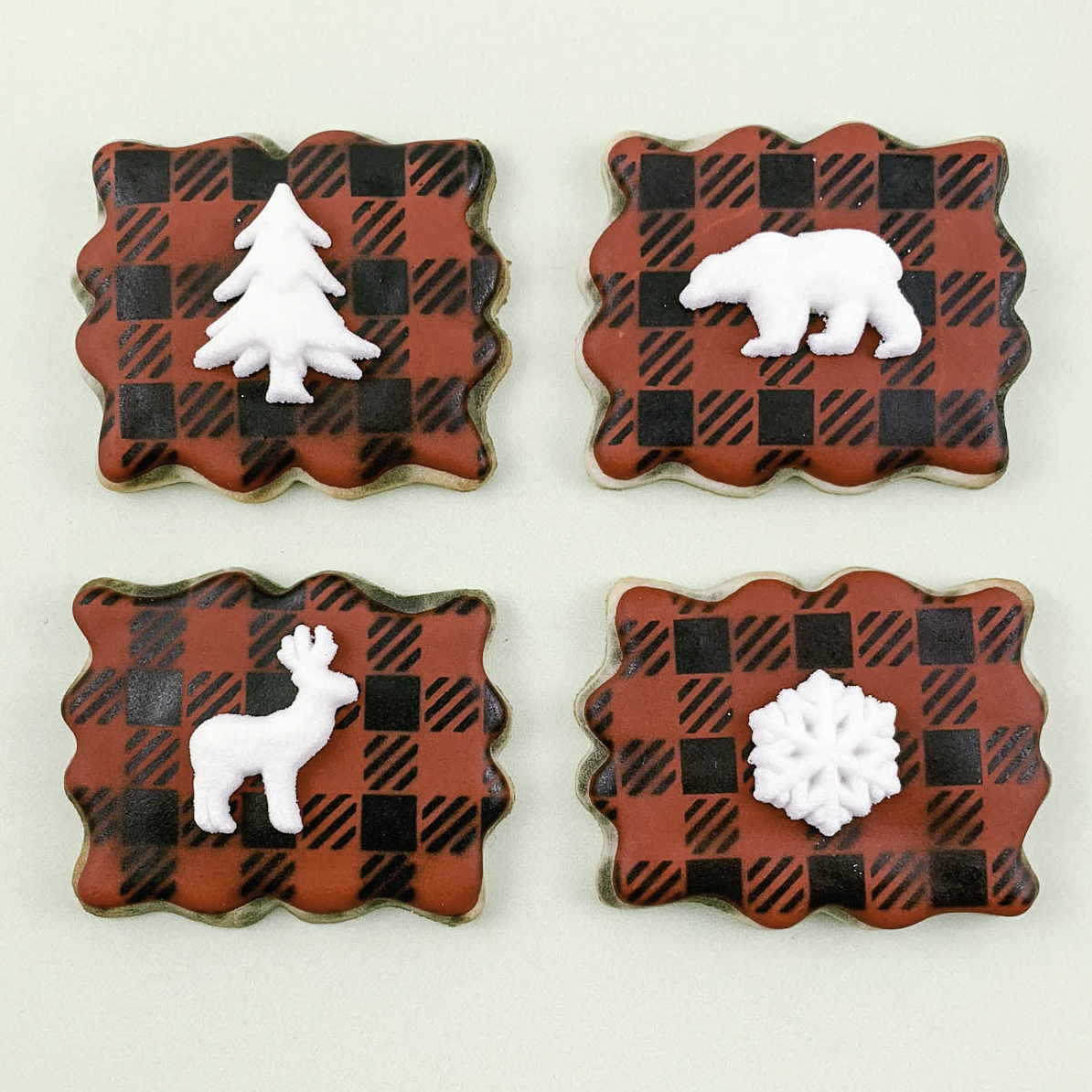 Buffalo Plaid Airbrushed Sugar Cookies