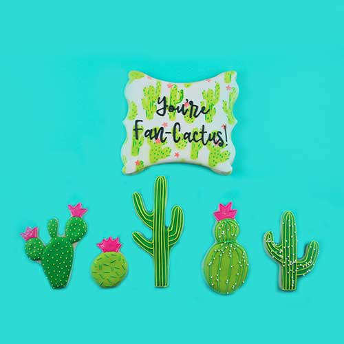 Cactus Cookies and Stenciled Plaque Cookies