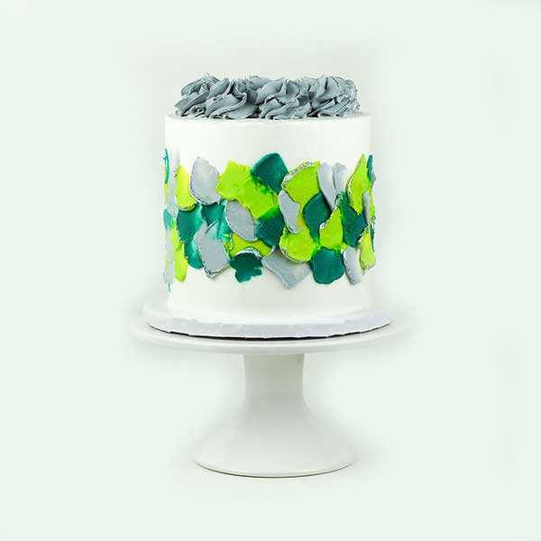 Silver, Teal & Green Palette Knife Cake