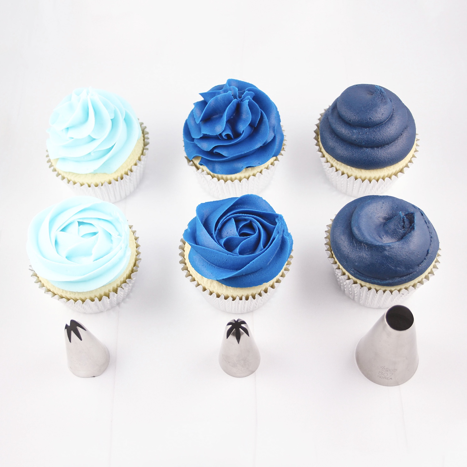 Shades of Blue Frosted Cupcakes