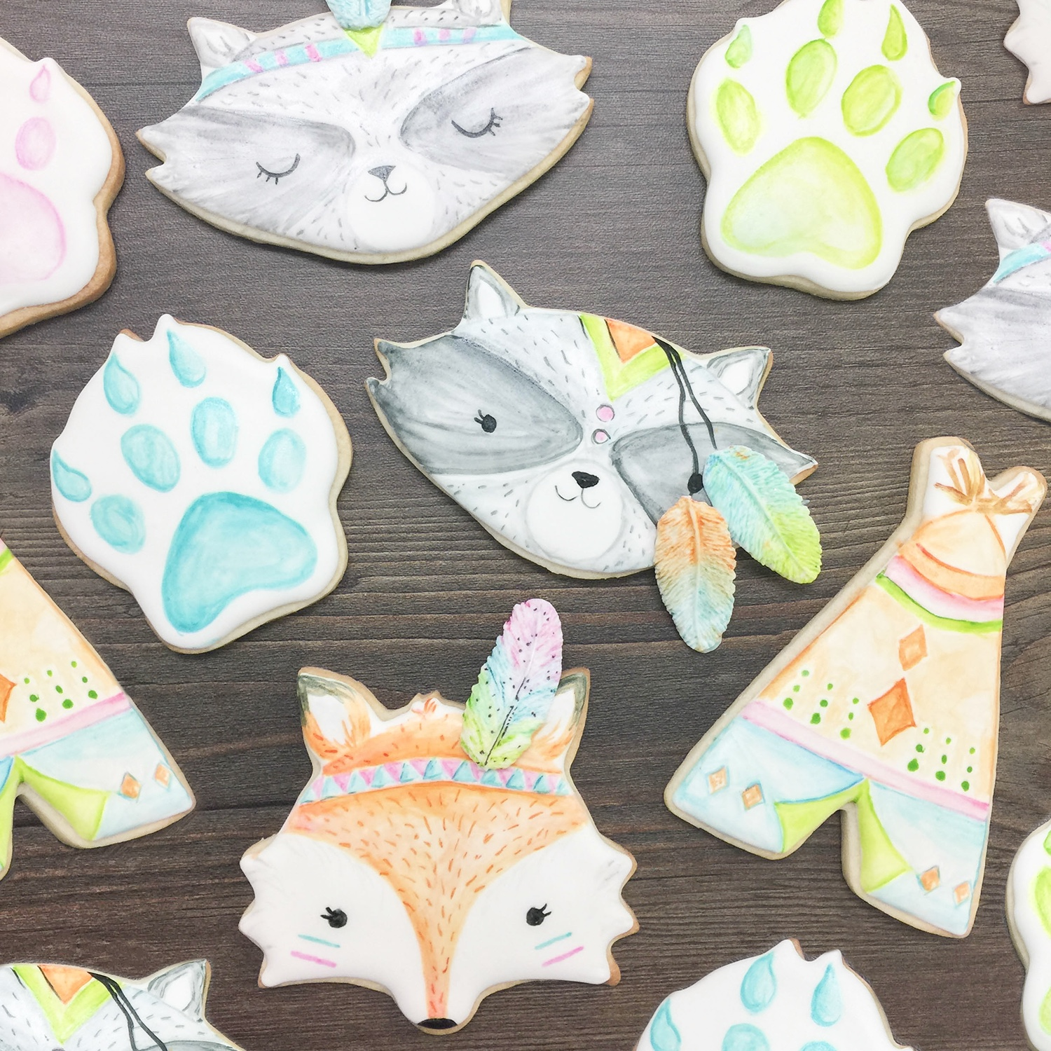 Watercolor Woodland Cookies
