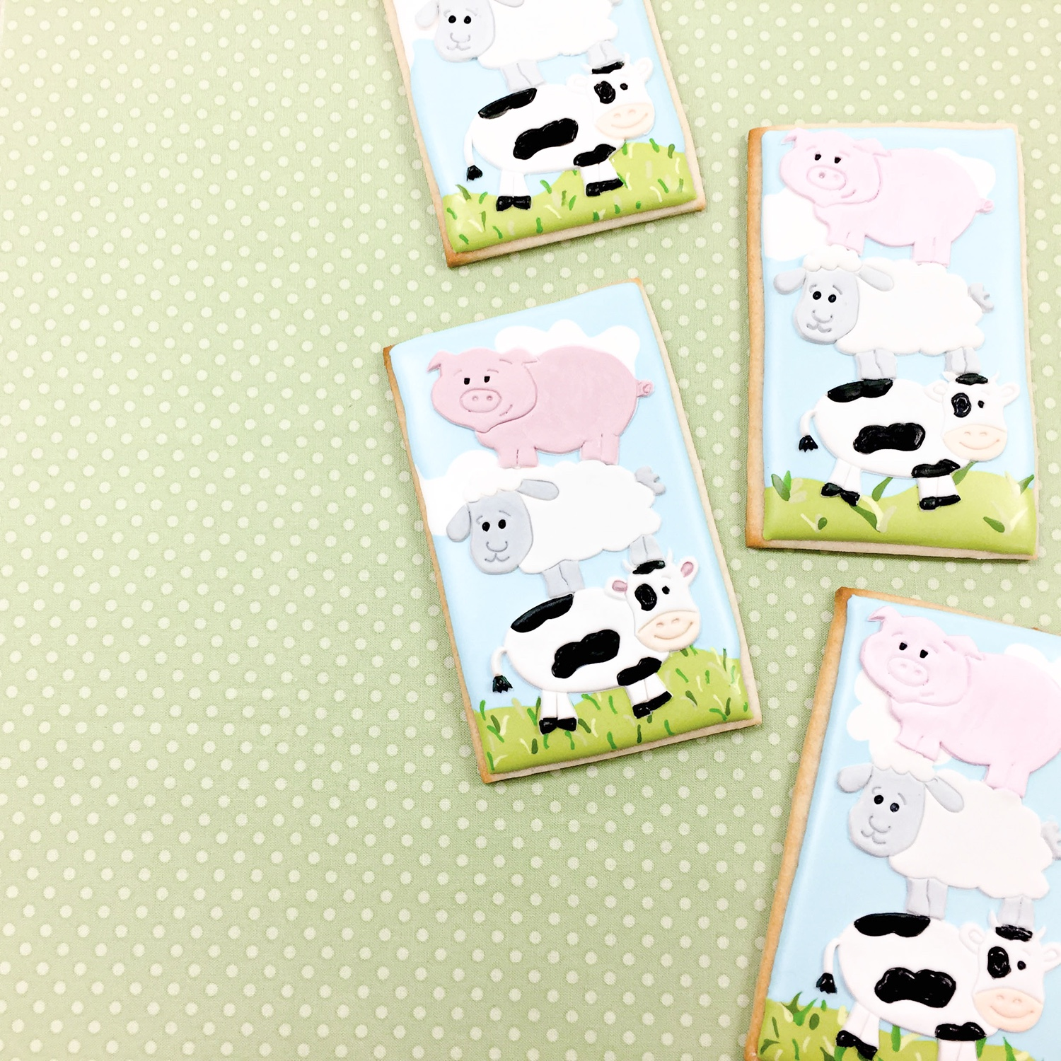 Fondant Farm Animal Cookies