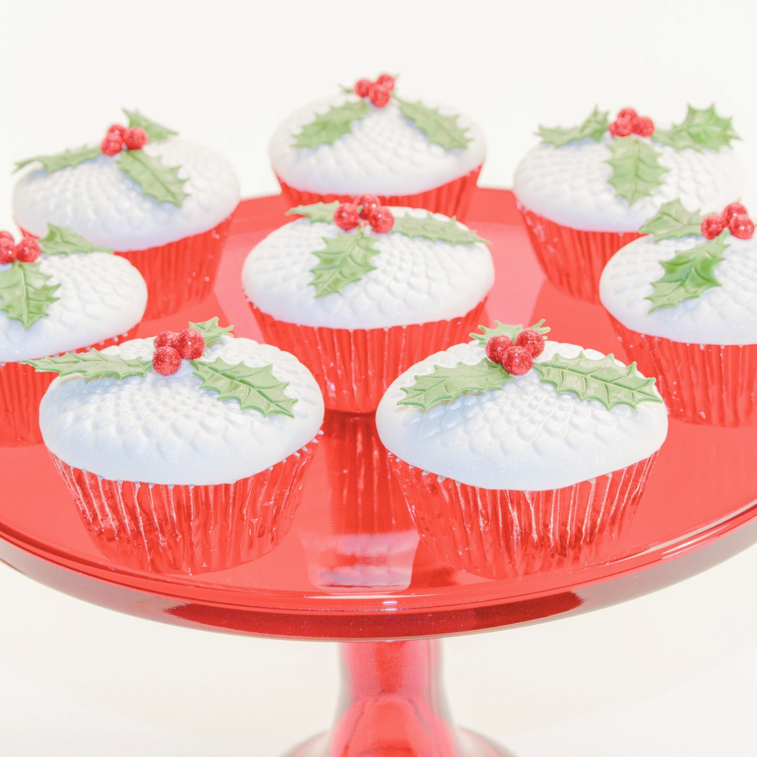 Whimsy Bloom Holly Cupcakes