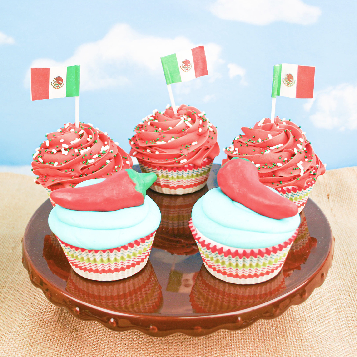 Mexican Flag & Chile Cupcakes