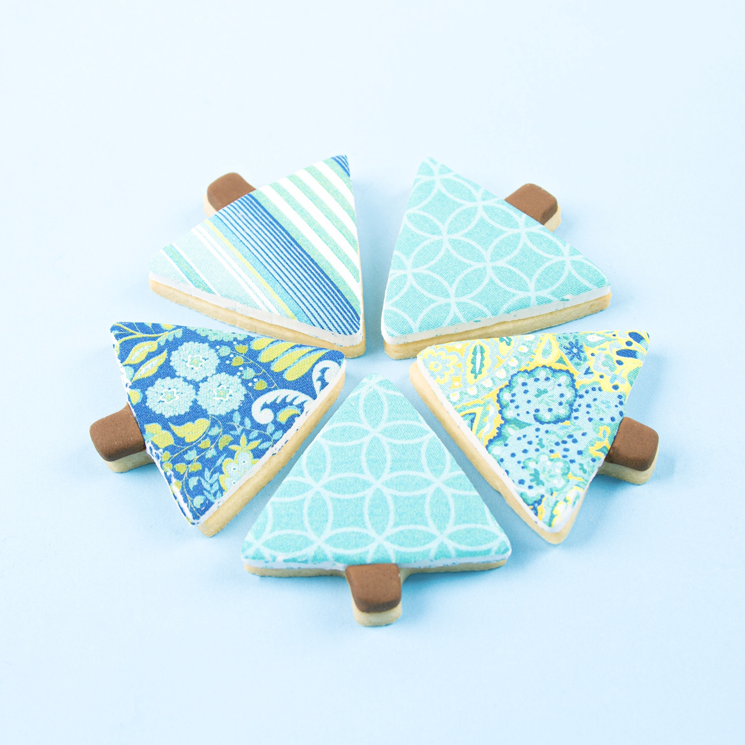 Blue Pattern Christmas Tree Cookies