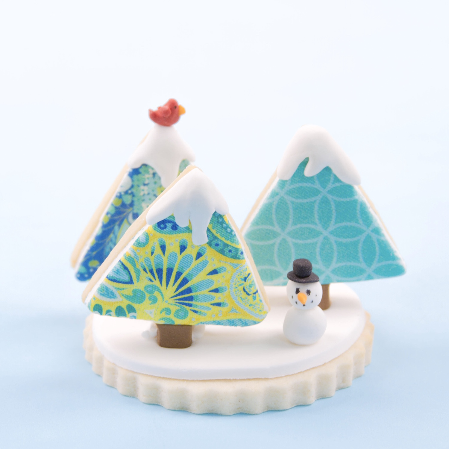 3D Blue Christmas Tree Cookie Scene
