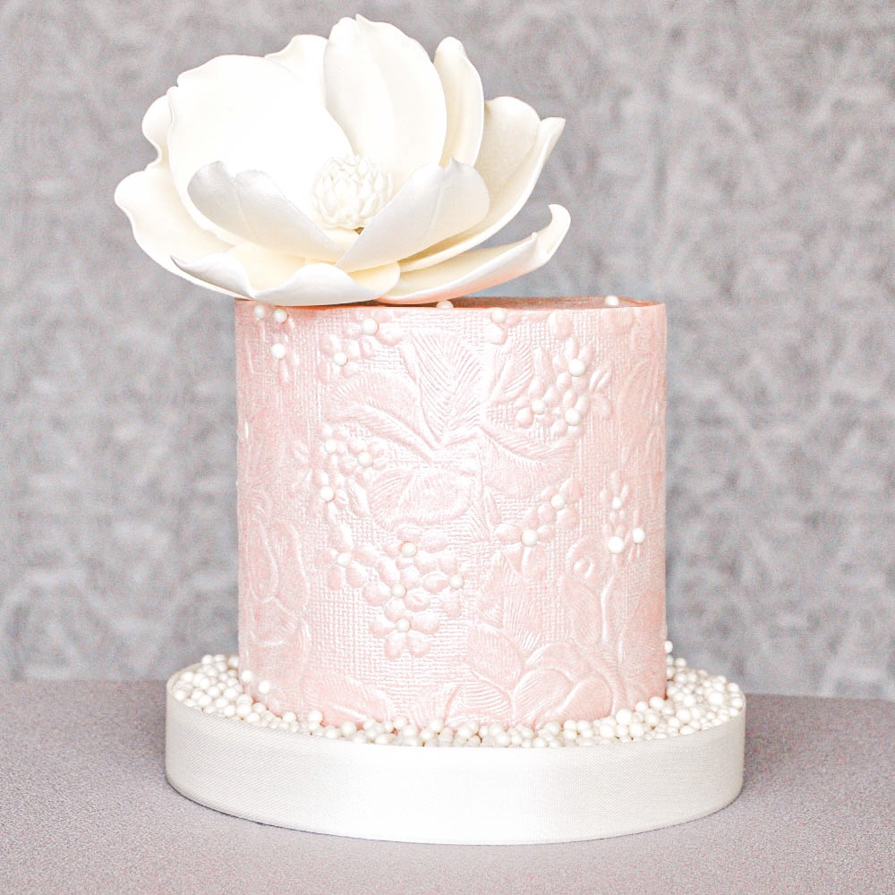 Pink Pearly Floral Cake